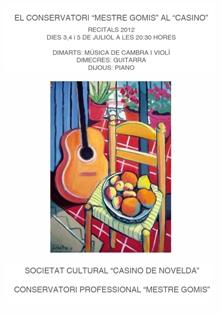 """Ayuntamiento de Novelda Cultura-CartelAudicionesConservatorio El Conservatorio """"Mestre Gomis"""" en el Casino"""