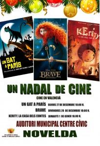 """Ayuntamiento de Novelda CARTEL-CINEMA-JPEG-205x300 Cinema infantil en valencià: """"un gat a parís"""", en el Auditorio Municipal Centro Cívico y Social."""