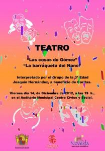 """Ayuntamiento de Novelda CARTEL-TEATRO-14-12-2012-JPEG-209x300 Teatro """"Las cosas de Gómez"""" y """"La barraqueta del Nano"""" en el Auditorio Municipal Centro Cívico y Social"""