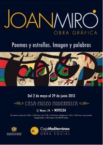 """Ayuntamiento de Novelda 02-05-2013-CARTEL-EXPOSICION-CASA-MUSEO-JPEG1-213x300 Inauguración de la exposición """"Poemas y estrellas. Imagen y palabras"""", Joan miró, en la Casa Museo Modernista."""