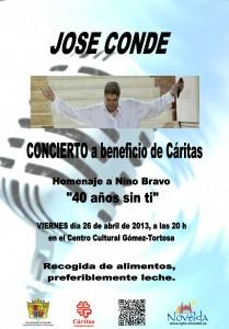 """Ayuntamiento de Novelda 26-04-2013-CONCIERTO-DE-JOSE-CONDE-JPEG-209x300 Concierto de José Conde, en homenaje a Nino Bravo """"40 años sin ti"""", a beneficio de Caritas, en el Centro Cultural Gómez-Tortosa."""