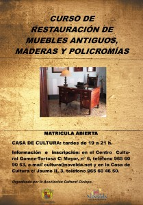 Ayuntamiento de Novelda CARTEL-RESTAURACION-DE-MUEBLES-matricula-abierta-JPEG-209x300 Curso de restauración de muebles antiguos, maderas y policromías, en la Casa de Cultura.  Matricula abierta.