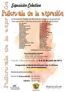 """Ayuntamiento de Novelda 2013-06-08-CARTEL-EXPOSICION-COLECTIVA-212x300 Exposición colectiva de arte (pintura, escultura y cerámica) """"Policromía de la expresión"""", en la Casa de Cultura."""