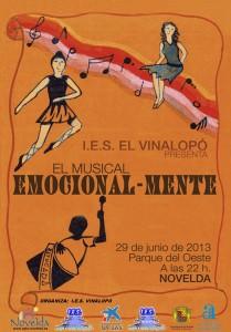 """Ayuntamiento de Novelda 2013-06-29-CARTEL-EMOCIONAL-MENTE-JPEG-209x300 Musical """"Emocional-mente"""", interpretado por los alumnos del IES Vinalopó, en el Parque del Oeste."""