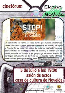 """Ayuntamiento de Novelda foto-cartel-ekonomovida-stop-rodando-el-cambio-209x300 Cinefórum EkonoMoVida """"Stop, rodando el cambio"""", en la Casa de Cultura."""