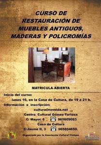 """Ayuntamiento de Novelda 2013-09-16-CARTEL-RESTAURACION-DE-MUEBLES-JPEG-209x300 Inicio del curso  """"Restauración de muebles antiguos, maderas y policromías"""", en la Casa de Cultura."""