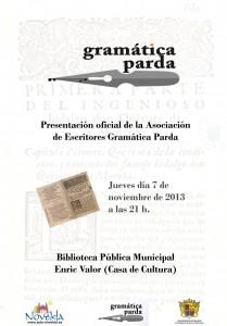 Ayuntamiento de Novelda 2013-11-07-CARTEL-GRAMATICA-PARDA-JPEG-209x300 Presentación oficial de la Asociación de Escritores Gramática Parda, en la Biblioteca Pública Municipal Enric Valor (Casa de Cultura).