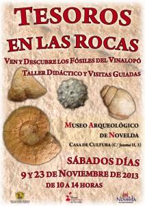 """Ayuntamiento de Novelda 2013-11-09-CARTEL-TALLER-MUSEO-ARQUEOLOGICO-212x300 Visitas guiadas y taller didáctico """"Tesoros en las rocas"""", en el Museo Arqueológico (Casa de Cultura)."""