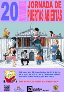 Ayuntamiento de Novelda 2013-11-20-CARTEL-PUERTAS-ABIERTAS-BIBLIOTECA-JPEG-209x300 Jornada de puertas abiertas en la  Biblioteca Pública Municipal Enric Valor, en la Casa de Cultura.
