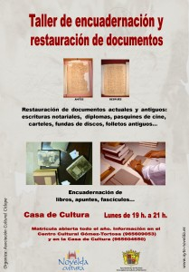 Ayuntamiento de Novelda CARTEL-RESTAURACION-DE-DOCUMETOS-JPEG-209x300 Inicio del taller de encuadernación y restauración de documentos, en la Casa de Cultura.