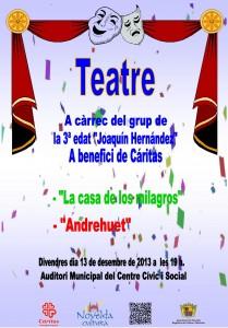 """Ayuntamiento de Novelda 2013-12-13-CARTELL-TEATRE-3-EDAT-JPEG-209x300 Teatro """"La casa de los milagros"""" y """"Andrehuet"""", en el Auditorio Municipal Centro Cívico y Social."""