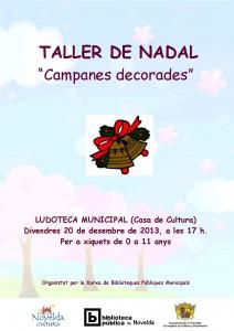 """Ayuntamiento de Novelda 2013-12-20-CARTEL-TALLER-LUDOTECA-JPEG-212x300 Taller de Navidad """"Campanas decoradas"""", en la Ludoteca Municipal (Casa de Cultura)."""