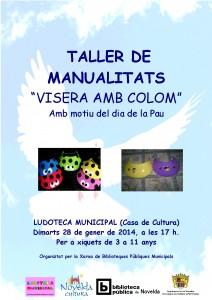 """Ayuntamiento de Novelda 2014-01-28-CARTEL-TALLER-LUDOTECA-JPEG-212x300 Taller de manualidades """"Visera con paloma"""", en la Ludoteca Municipal (Casa de Cultura)."""