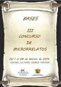 Ayuntamiento de Novelda CARTEL-BASE-CONCURSO-DE-MICRORRELATOS-JPEG-212x300 Bases del III Concurso de Microrrelatos,  en el Centro Cultural Gómez Tortosa.