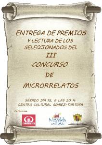 Ayuntamiento de Novelda 2014-02-01-CARTEL-ENTREGA-DE-PREMIOS-MICRORRELATOS-JPEG-212x300 Lectura de los microrrelatos seleccionados en el III Concurso de Microrrelatos y entrega de premios, en el Centro Cultural Gómez-Tortosa.