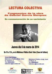 """Ayuntamiento de Novelda 2014-03-06-CARTEL-LECTURA-COLECTIVA-GABRIEL-GARCIA-JPEG-212x300 Lectura colectiva """"Fragmentos de la obra de Gabriel García Márquez"""", en la Biblitoca Pública Municipal Enric Valor (Casa de Cultura)."""
