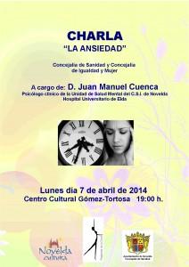 """Ayuntamiento de Novelda 2014-04-07-CARTEL-CHARLA-ANSIEDAD-JPEG-212x300 Conferencia: """"La ansiedad"""", a cargo de D. Juan Manuel Cuenca, en el Centro Cultural Gómez-Tortosa."""