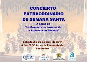 """Ayuntamiento de Novelda 2014-04-26-CARTEL-CONCIERTO-DE-SEMANA-SANTA-300x212 Concierto extraordinario de Semana Santa por la """"Orquesta de Jóvenes de la Provincia de Alicante"""",  en la Parroquia de San Pedro."""