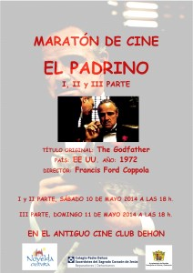 """Ayuntamiento de Novelda 2014-05-10-CARTEL-EL-PADRINO-212x300 Maratón de Cine. Proyección de la   película  """"El  Padrino"""" (1ª, 2ª y 3ª parte), en  el  antiguo  Cine  Club  Dehon."""