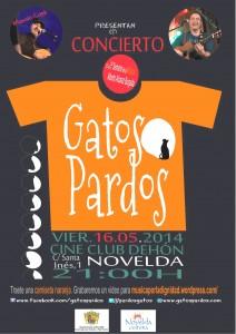 """Ayuntamiento de Novelda 2014-05-16-CARTEL-GATOS-PARDOS-212x300 Concierto. Ciclo: Otras músicas con la actuación del grupo """"Gatos Pardos"""", en el antiguo Cine Club Dehon."""