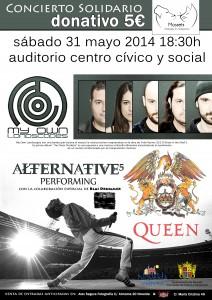 """Ayuntamiento de Novelda 2014-05-31-CARTEL-CONCIERTO-MOSSETS-212x300 Concierto solidario con las actuaciones de """"My Own Landscapes"""", """"Alternative 5"""" y """"Queen"""", en el Auditorio Municipal del Centro Cívico y Social."""