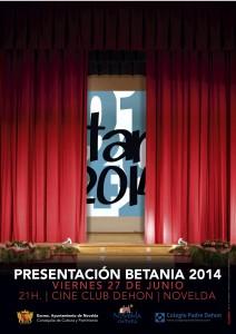 Ayuntamiento de Novelda 2014-06-27-CARTEL-PRESENTACION-BETANIA-212x300 Presentación de la Revista Betania 2014, en el Cine Club Dehon.