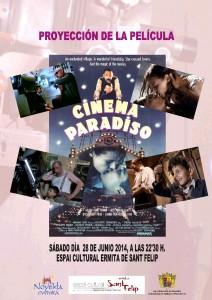 """Ayuntamiento de Novelda 2014-06-28-CARTEL-CINEMA-PARADISO-212x300 Proyección de la película """"Cinema paradiso"""", en el Espai Cultural Ermita de San Felip."""