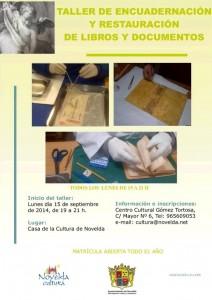 Ayuntamiento de Novelda 15-09-2014-CARTEL-TELLER-ENCUADERNACION-212x300 Inicio del  taller de encuadernación y restauración de libros y documentos,  en la Casa de Cultura.