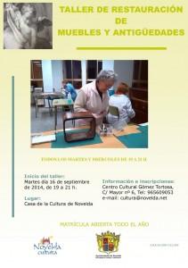 Ayuntamiento de Novelda 15-09-2014-CARTEL-TELLER-RESTAURACION-211x300 Inicio del taller de restauración de muebles y antigüedades, en la Casa de Cultura.