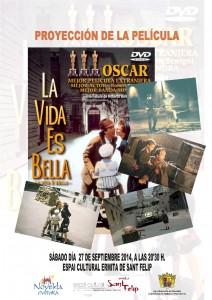 """Ayuntamiento de Novelda 2014-09-27-CARTEL-CINE-LA-VIDA-ES-BELLA-212x300 Septiembre de cine. con la proyección de la película """"La vida es Bella"""", en el Espai Cultural Ermita San Felip."""