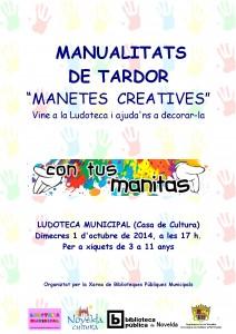 """Ayuntamiento de Novelda 2014-10-01-CARTEL-LUDOTECA-MANUALITATS-DE-TARDOR-212x300 Manualidades de otoño """"Manitas creativas"""", en la Ludoteca Pública Municipal (Casa de Cultura)."""