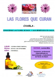 """Ayuntamiento de Novelda 2014-11-06-CARTEL-CHARLA-FLORES-BACH-212x300 Charla """"Las flores que curan. El beneficio de la flores de Bach en la salud"""", en el Centro Cultural Gómez-Tortosa."""