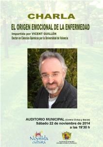 """Ayuntamiento de Novelda 2014-11-22-CHARLA-VICENT-GUILLEN-212x300 Charla """"El origen emocional de la enfermedad"""", por Vicent Guillén, en el Auditorio Municipal."""