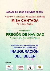 Ayuntamiento de Novelda 2014-12-13-CARTEL-MISA-CANTADA-212x300 Misa Cantada y Pregón de Navidad, en la Parroquia de San Pedro. A continuación Inauguración del Belén.