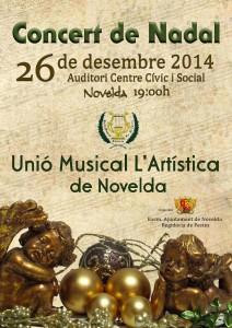 """Ayuntamiento de Novelda 2014-12-26-CARTEL-CONCERT-DE-NADAL-212x300 Concierto de Navidad, ofrecido por la Unión Musical """"La Artística"""", en el Auditorio Municipal."""