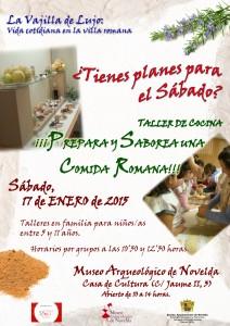 """Ayuntamiento de Novelda 2015-01-17-CARTEL-TALLER-COCINA-ROMANA-212x300 Taller de Cocina (para niñ@s): """"Prepara y saborea  una comida romana"""", en el Museo Arqueológico."""