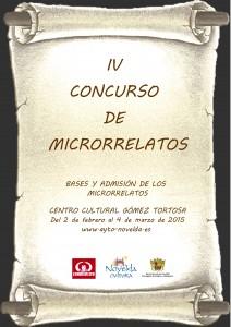 Ayuntamiento de Novelda 2015-02-02-CARTEL-IV-CONCURSO-DE-MICRORRELATOS-212x300 IV Concurso de Microrrelatos, Centro Cultural Gómez Tortosa. Bases y admisión de los microrrelatos.