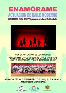 """Ayuntamiento de Novelda 2015-02-14-CARTEL-ACTUACION-KANKUDAI-212x300 Actuación de baile moderno. """"Enamórame"""", en el Auditorio Municipal."""