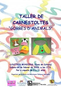 """Ayuntamiento de Novelda 2015-02-16-CARTEL-LUDOTECA-TALLER-DE-CARNAVAL-212x300 Taller de carnaval """"Gorras de animales"""", en la Ludoteca Pública Municipal."""