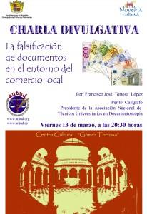 """Ayuntamiento de Novelda 2015-03-13-CARTEL-CHARLA-FALSIFICACION-206x300 Conferencia. """"La falsificación de documentos en el entorno del comercio local"""", en el Centro Cultural Gómez-Tortosa."""