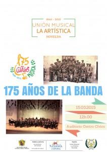 """Ayuntamiento de Novelda 2015-03-15-175-AnOS-DE-LA-BANDA-ARTISTICA-212x300 Concierto. """"175 aniversario de la banda"""", en el Auditorio Municipal."""