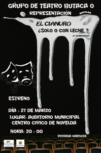 """Ayuntamiento de Novelda 2015-03-27-CARTEL-TEATRO-BUTACA-CERO-199x300 Representación teatral. """"El cianuro... ¿sólo o con leche?"""", en el Auditorio Municipal."""