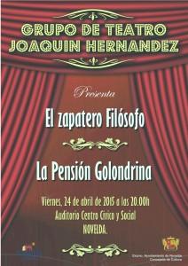 """Ayuntamiento de Novelda 2015-04-24-CARTEL-TEATRO-MIGUEL-HERNANDEZ-212x300 Teatro de la 3ª edad. """"El zapatero filósofo"""" y """"Pensión la golondrina"""", en el Auditorio Municipal."""