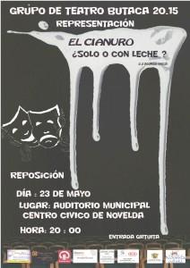 """Ayuntamiento de Novelda 2015-05-23-CARTEL-TEATRO-BUTACA-20.15-212x300 Representación teatral. """"El cianuro... ¿sólo o con leche?"""", en el Auditorio Municipal."""