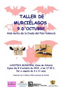Ayuntamiento de Novelda 2015-10-08-CARTEL-LUDOTECA-MURCIELAGOS-212x300 Taller de murciélagos 9 d'octubre, en la Ludoteca Pública Municipal (Casa de Cultura).
