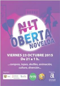 """Ayuntamiento de Novelda 2015-10-23-NIT-OBERTA-212x300 """"Nit oberta"""". Noche de compras y ocio, actividades de animación, en comercios y calles de Novelda."""