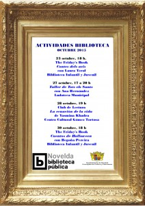 """Ayuntamiento de Novelda 2015-10-23-PROGRAMACION-BIBLIOTECA-OCTUBRE-212x300 The Friday`s Book. Cuentacuentos """"Contes dels avis"""", en la biblioteca infantil juvenil."""