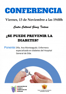 """Ayuntamiento de Novelda 2015-11-13-CONFERENCIA-DIABETES-212x300 Charla sobre la diabetes """"¿Se puede prevenir la diabetes?"""", en el Centro Cultural Gómez-Tortosa."""