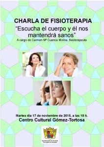 """Ayuntamiento de Novelda 2015-11-17-CHARLA-MUJER-Y-CLIMATERIO-212x300 Charla de fisioterapia. """"Escuchemos el cuerpo y él nos mantendrá sanos"""", en el Centro Cultural Gómez-Tortosa."""