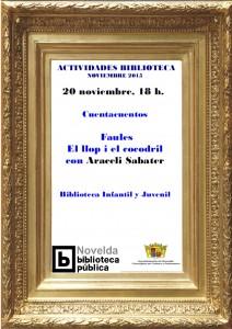 """Ayuntamiento de Novelda 2015-11-20-CUENTACUENTOS-LUDOTECA-212x300 Cuentacuentos. """"Faules: El llop i el cocodril"""", en la Biblioteca Infantil y Juvenil."""